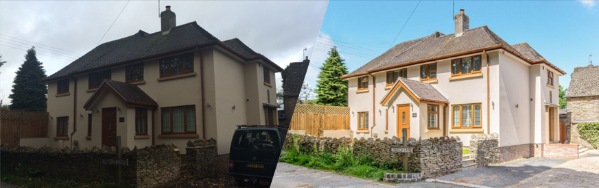 A comparison of a poor quality photo of a house against a high-quality, re-touched photo of the same house.
